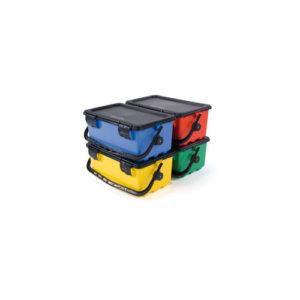 Ведро Mopmatic на 14 литров с защелкивающейся черной крышкой, Желтое